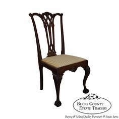Antique 19th Century Solid Mahogany Chippendale Style Side Chair #Chippendale