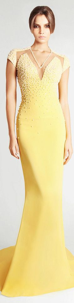 Georges Hobeika Spring Summer 2013 Ready to Wear #yellow #dress