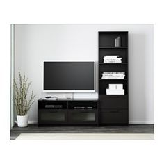 "BRIMNES TV storage combination, black - 70 7/8x16 1/8x74 3/4 "" - IKEA"