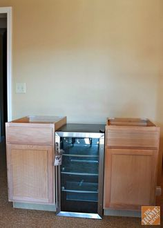Two 18-inch base cabinets and a 17-inch beverage cooler to use as a base