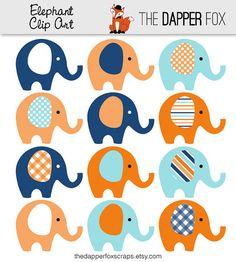 Blu e arancione elefante ClipArt  INSTANT DOWNLOAD  ragazzo