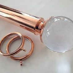 Stunning Rose Gold Curtain Pole with sold acrylic 'Sienna' ball finial. Room Decor Bedroom Rose Gold, Rose Gold Rooms, Rose Gold Decor, Cactus Bedroom, Girls Bedroom Curtains, Bedroom Ideas, Glam Bedroom, Bedroom Designs, Copper Curtain Pole