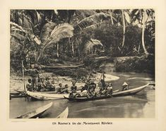 Kano's in de Mentawei Rivier Antique photograph  In Demmeni's era there were three basic kinds of local craft for negotiating the seas and rivers of the Indonesian archipelago: huge built-up sailing vessels including the sea-going schooners...