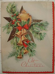 Glittered Christmas Star, Bells, Door Knocker - 1940's Vintage Christmas Card