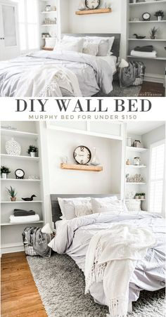 Mar 2020 - This DIY wall bed is the perfect Queen Murphy Bed! These Murphy Bed plans are easy & can be done over a weekend. Shows you exactly how to Build a Murphy Bed without a kit! Build A Murphy Bed, Queen Murphy Bed, Murphy Bed Plans, Murphy Bes, Best Murphy Bed, Murphy Bed Desk, Woodworking Furniture Plans, Pallet Furniture, Pipe Furniture