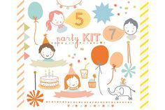 Party Kit Clip Art by Little Cube on @creativemarket Creative Market