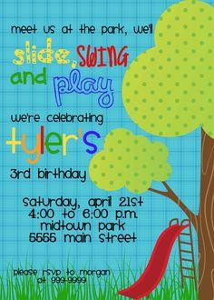 Printable park birthday invitation park birthday party invite slide swing and play playground birthday by magicbymarcy on etsy 1500 filmwisefo