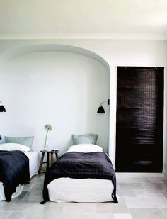 French Riviera.  Stone floor in bedroom.