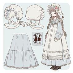Vintage Fashion Sketches, Fashion Design Drawings, Character Outfits, Character Art, Moda Lolita, Drawing Clothes, Anime Outfits, Character Design Inspiration, Anime Art Girl