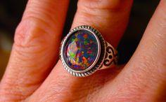 Unisex Vivid Fire Opal ring. Genuine Australian by AmyKJewels
