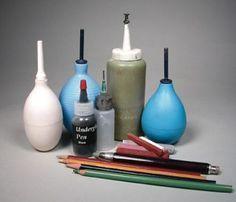 Ceramic Arts Daily: How to Make and Use Underglaze Pencils, Crayons, Pens, and Trailers Ceramic Supplies, Ceramic Tools, Ceramic Decor, Ceramic Clay, Ceramic Pottery, Pottery Art, Clay Tools, Slab Pottery, Ceramic Studio