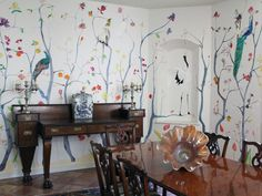 contemporary dining room with decorated wallpaper