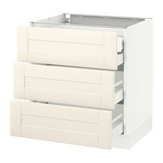"""SEKTION Base cabinet w/3 fronts & 4 drawers - white, Grimslöv off-white, 30x24x30 """", Ma - IKEA"""