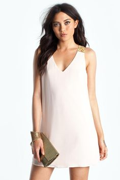 BOUTIQUE FIVE A short chiffon shift dress, featuring braided ball chain shoulder straps with rhinestone embellishments. Deep v-neck. Finished hem. Fully lined. $28.90