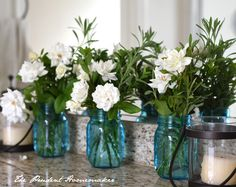 White Roses in Blue Jars 2 The Prudent Homemaker - I cut apple branches from the garden for a vase in the house.  I cut euyonomus branches to bring in the house.
