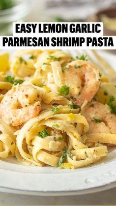 Shrimp Recipes Easy, Easy Dinner Recipes, Seafood Recipes, Pasta Recipes, Cooking Recipes, Healthy Recipes, Yummy Recipes, Lemon Shrimp Pasta, Shrimp Dishes