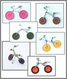 Wire & Button Bicycle MADE TO ORDER - Pendant, Ornament, Miniature