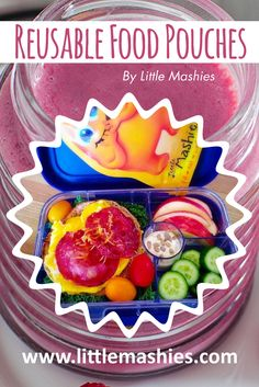 Healthy bright lunch loved by kids. Reusable food pouch and recipes from Amazon and https://www.amazon.com/Little-Mashies/pages/12665873011   FREE ebook from littlemashies.com/free