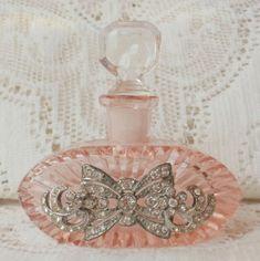 Pink Checa Rhinestone joyería de la vendimia adornado botella de perfume