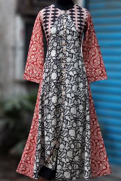 Maaticrafts Multicolored Cotton Printed Anarkali Kurti