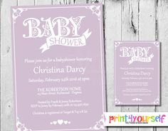 Decorative Baby Shower Invitation  Baby Shower by Print4Yourself