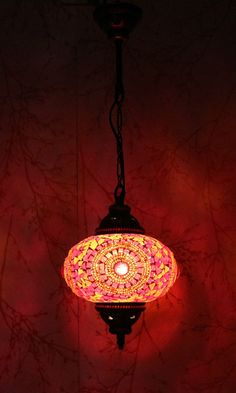 Turkish Moroccan Style Mosaic Hanging Lamp Light Hand Made 17 cmLarge Globe