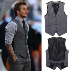 Fashion David Beckham all match slim casual male vest maleTank SUIT Tops undershirt beer for Spring and summer Men's Clothing-inVests  Wais...