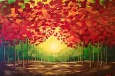 "Paint Nite | Drink Creatively ""Fall Sunset"" by Paint Nite artist Courtney Boxwell.   Want to learn to paint this? Check out the calendar for Paint Nite in your area!"