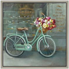 Paris Vintage Bicycle Framed Canvas Wall Art ($59) ❤ liked on Polyvore featuring home, home decor, wall art, backgrounds, art, decor, green, scenery, vintage wall art and parisian wall art