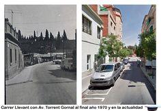 Carrer de Llevant con Av Torrent Gornal al final, en la barracas habían granjas de conejos, año 1970 y en la actualidad