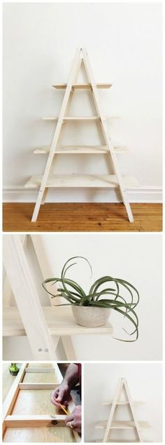 DIY Modern A Frame Plant Stand - full details and tutorial available on the blog, http://www.rowhousenest.com