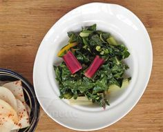 Steamed Swiss Chard with Soy Sesame Sauce served cold