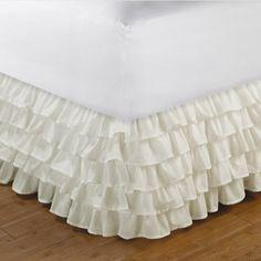 Multi-Ruffle Ivory Bedskirt