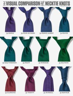 Conoce los diferentes estilos de #nudos de #corbata | Recuerda que debes considerar el cuello de tu #camisa, tu tipo de #cuerpo, la ocasión del evento y el estilo de la #corbata para seleccionar uno en particular | Visítanos www.corbatasmexico.com.mx