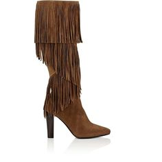 Saint Laurent Women's Lily Fringed Suede Knee Boots ($639) ❤ liked on Polyvore featuring shoes, boots, brown, knee-high boots, suede fringe boots, brown suede boots, high heel boots, knee high boots and knee-high fringe boots