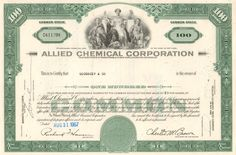 Allied Chemical Corporation stock certificate - now part of Honeywell Money Frame, Dow Jones Index, Vertical Integration, Stocks And Bonds, Common Stock, Gif Collection, Male Figure, Oil And Gas, Company Names