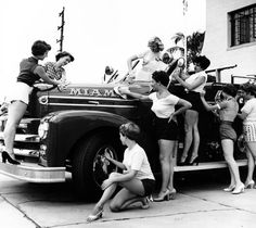 Pin-up models at the Miami Fire College, photo by Bunny Yeager, 1955