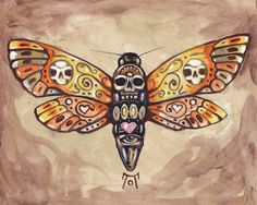 Greeting Card -Deaths Head Moth- Large textured half-fold heavy paper