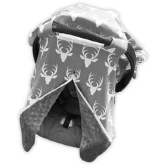 """Gray white deer gray minky car seat canopyto mix and match with our adorable outfits.Also add theoptional matching Blanket. Measurements: 33"""" x 31"""" Material:"""