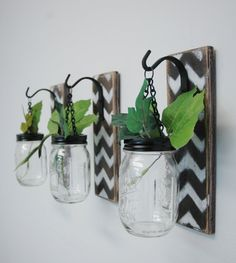 Chevron Design Wall Decor, Individual Hanging Chevron Painted Mason Jar Wall Decor Home Decor bedroom decor kitchen decor
