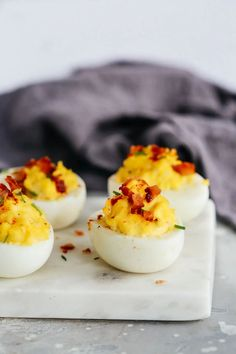 This easy deviled eggs recipe is perfect for making delicious and easy holiday appetizers. You can save some time in the kitchen by prepping these in advance of your party! Paleo Recipes Easy, Whole 30 Recipes, Egg Recipes, Low Carb Recipes, Great Recipes, Paleo Menu, Paleo Diet, Snack Recipes, Keto