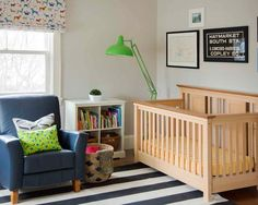 Victorian Windows Style And Victorian Rooms: Traditional Nursery Room With Victorian Windows Also Khaki Modern Cradle Also Dark Blue Armchair Also Black And White Carpet With Striped Pattern Also Bright Green Floor Lamp Also White Wall Paint Color ~ vettelicious.com Windows Design Ideas Inspiration