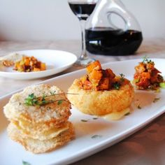 Rice crisps with melting Camembert and butternut caponata created by contestant Lara Johnson Appetizer Recipes, Appetizers, Rice Crisps, French Food, Savoury Dishes, Wine Recipes, Wines, French Toast, Yummy Food