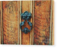 Door Art Boston Scenery Whimsical Unusual Subject Minimalism Antique Door Knocker Distressed Wood Brahmin Bar Back Bay Area Brown Wood Print Canvas Print Poster Print Metal Frame Available On Invitation To A Party Card T Shirts Tote Bags Phone Cases Pouches Shower Curtains And Throw Pillows Wood Print featuring the photograph An Antique Door In Boston by Poet's Eye