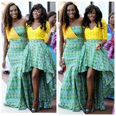 Nigerian wedding yellow and green ore-iyawo aso-ebi color combination