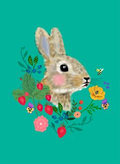 """Rabbit head with flowers and berries"" by Elisandra 2015"