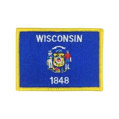State of Wisconsin Flag Patch US Embroidered Patch Gold Border Iron On patch Sew on Patch badge Patch meet you on www.Fleckenworld.com