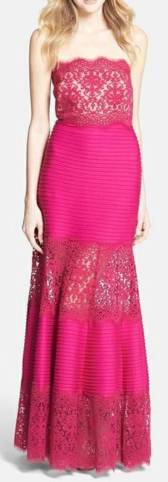 Bright Pink Lace Infused Maxi Dress