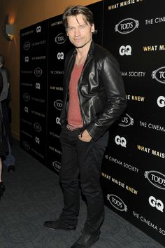 Nikolaj Coster-Waldau, actor in the TV series Game of Thrones and the film Oblivion, wearing a Tod's leather jacket and T-Project sneakers.