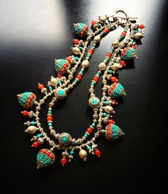 """ROX Coral and Turquoise Tibetan Bead Necklace with Turquoise, Jade, Pewter, Silver Plate and Ethiopian and Indonesian Silver. 18"""". $475 mkt.com/ROX-minneapolis-jewelry"""